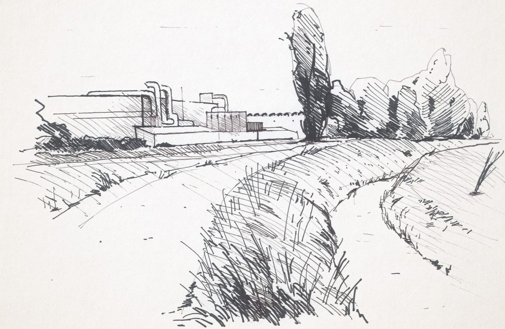 Da qualche parte nell'entroterra veneto. Illustrazione di Enrica Casentini, da In the North East, di Giorgio Guernier